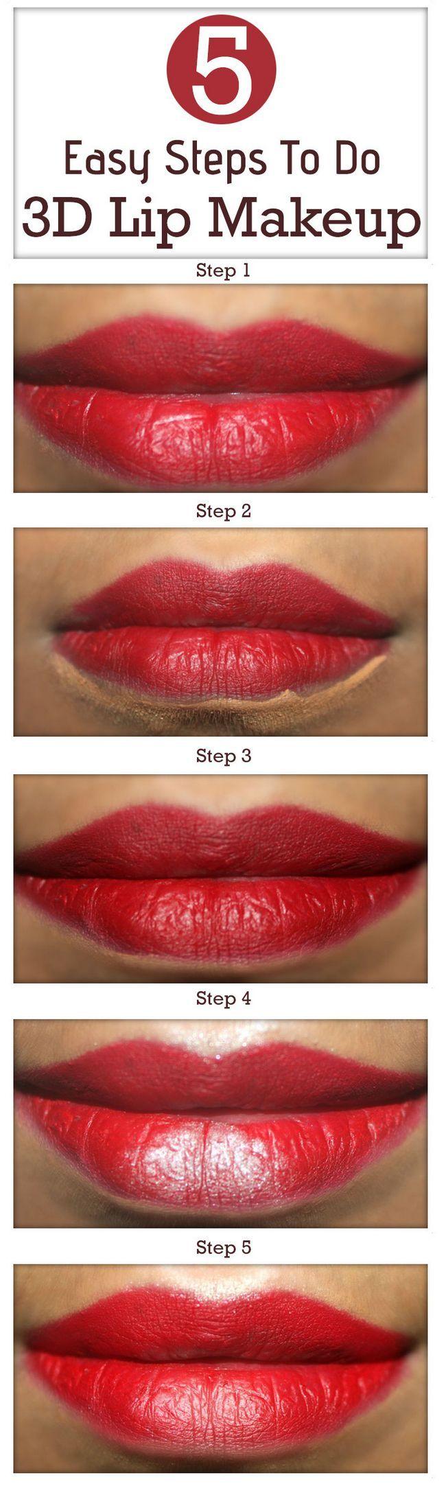 5 Étapes faciles à faire le maquillage 3d lèvres - tutoriel avec des étapes détaillées et des images