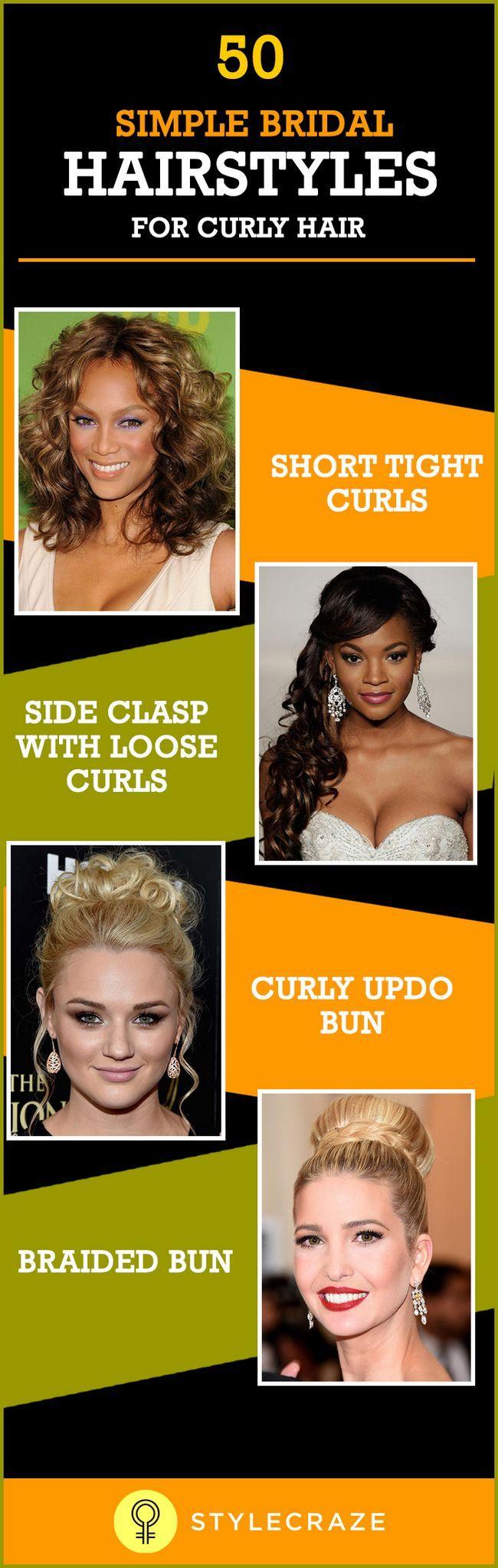 50 Coiffures de mariée simples pour les cheveux bouclés