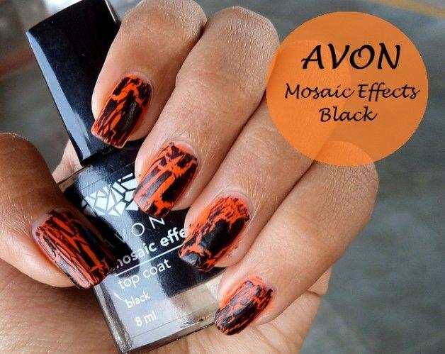 Avon effets de mosaïque ongles top coat revue polonaise et nuanciers: noir