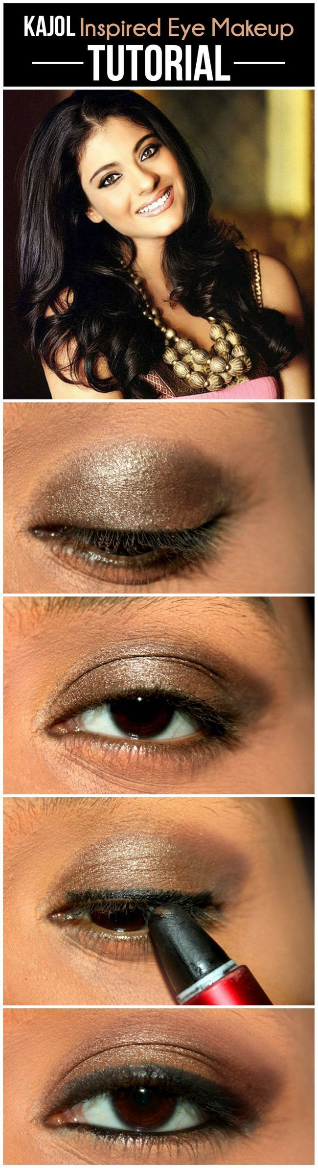 Le maquillage des yeux inspiré Kajol - tutoriel avec des étapes détaillées et des images