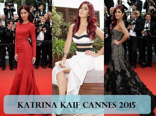 Katrina kaif, Cannes 2015 robes maquillage, cheveux rouges: ce qui a mal tourné