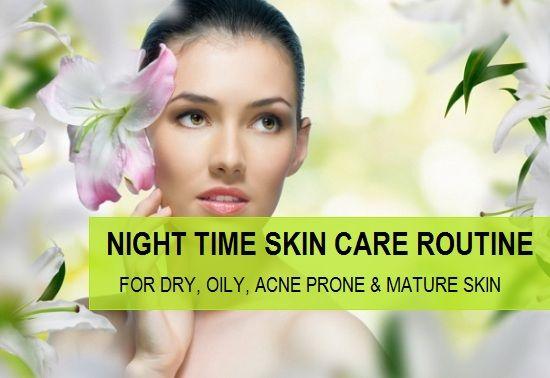 Routine de soins de la peau de nuit pour les peaux grasses, sèches, la peau acnéique