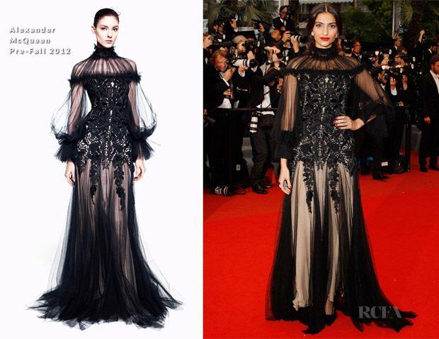 Sonam kapoor Cannes 2012: alexander robe mcqueen, rupture de maquillage